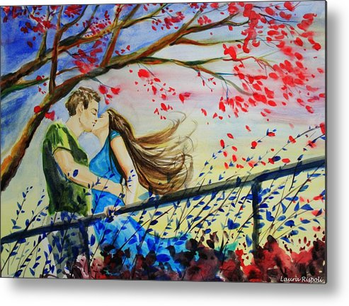 Wind Metal Print featuring the painting Windy Kiss by Laura Rispoli