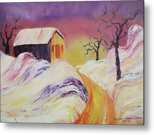 Winter Metal Print featuring the painting Winter Beauty by Suzanne Marie Leclair