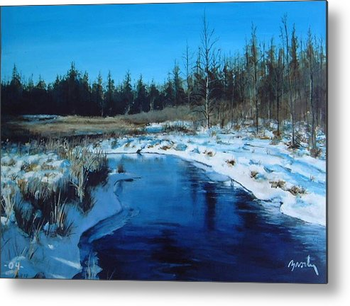 Landscape Realistic Metal Print featuring the painting Winter Stream by William Brody
