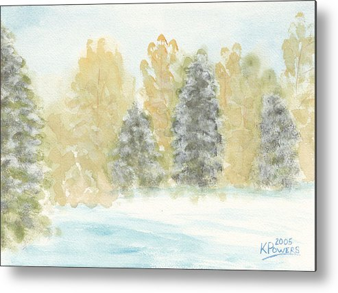 Winter Metal Print featuring the painting Winter Trees by Ken Powers