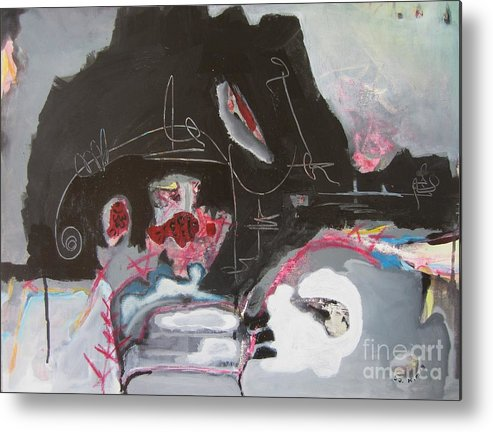 Abstract Paintings Metal Print featuring the painting With Little Escape From Life by Seon-Jeong Kim
