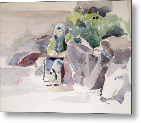 Landscape Metal Print featuring the painting Woman Of The Rocks by Linda Berkowitz