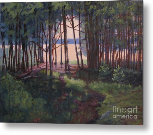 Woods Metal Print featuring the painting Woodland Path by Laura Roberts