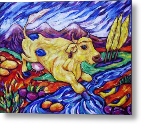 Diconnollyart Metal Print featuring the painting Yellow Cow Jumps The Creek by Dianne Connolly