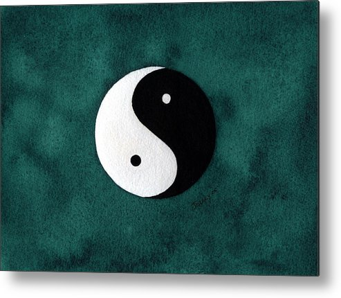 Yin-yang Metal Print featuring the painting Yin Yang by Stephanie Jolley