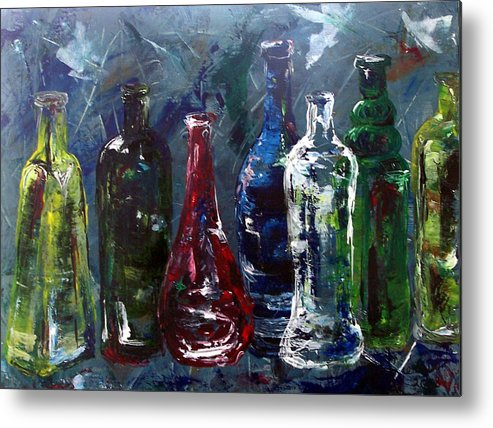 Bottle Metal Print featuring the painting You Bet Your Glass by Amanda Sanford