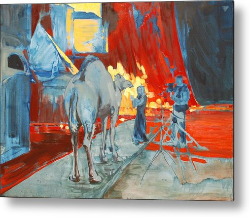 Animals Woman Set Hollywood Camel Blue Behind Scenes Yellow Bright Film Filming Metal Print featuring the painting Zohan Camel by Amy Bernays