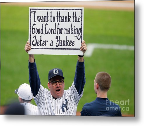 People Metal Print featuring the photograph Derek Jeter Ceremony by Rich Schultz