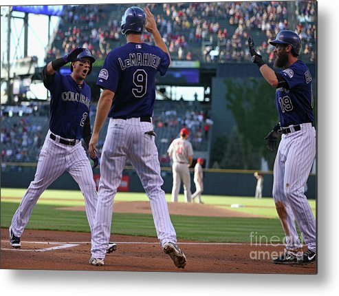 People Metal Print featuring the photograph St Louis Cardinals V Colorado Rockies by Doug Pensinger