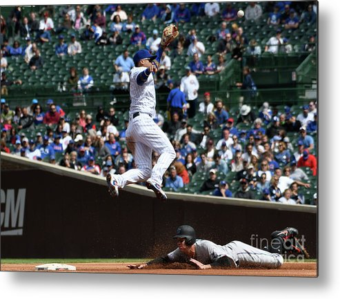 People Metal Print featuring the photograph Miami Marlins V Chicago Cubs by David Banks