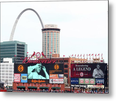 St. Louis Cardinals Metal Print featuring the photograph Cincinnati Reds V St. Louis Cardinals by Elsa