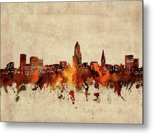 Cleveland Metal Print featuring the digital art Cleveland Skyline Sepia by Bekim M
