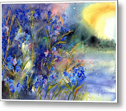 Cosmic Metal Print featuring the painting Forget-me-not Watercolor by Suzann Sines