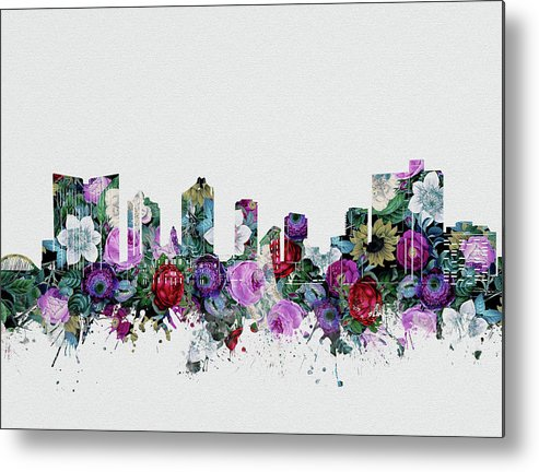 Fort Worth Metal Print featuring the digital art Fort Worth Skyline Floral 2 by Bekim M