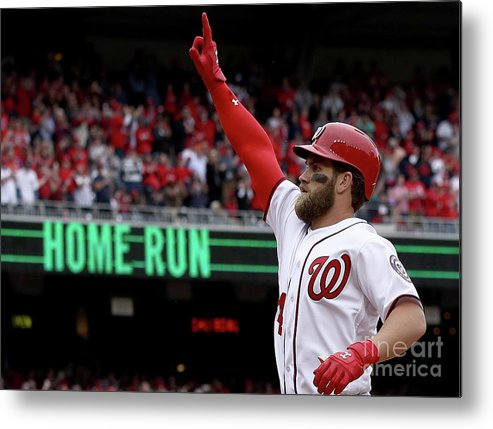 People Metal Print featuring the photograph Miami Marlins V Washington Nationals by Win Mcnamee