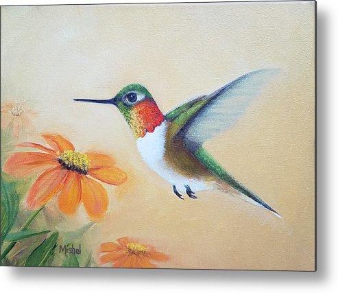 Rufous Hummingbird Metal Print featuring the painting Rufous In Marigolds by Mishel Vanderten