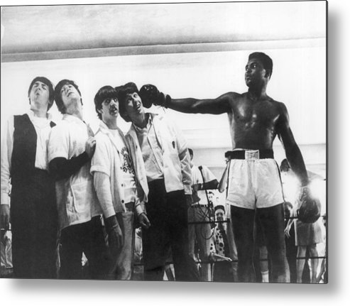 Sports Training Metal Print featuring the photograph The Beatles And Muhammad Ali In 1964 by Keystone-france