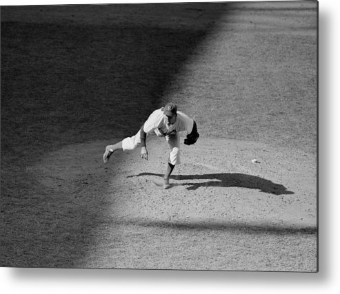 Motion Metal Print featuring the photograph The Dodgers Hal Gregg, In Action In The by New York Daily News Archive