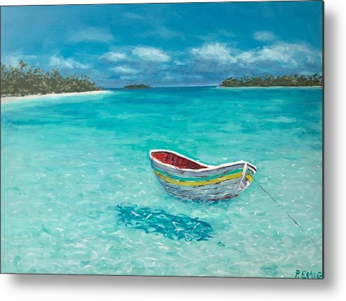 Dinghy Metal Print featuring the painting Tranquil by Paul Emig