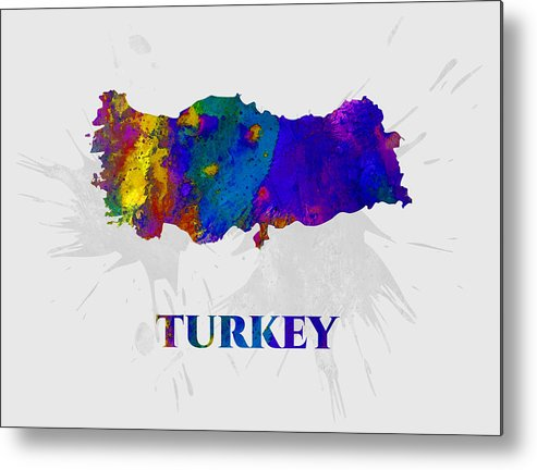 Turkey Metal Print featuring the mixed media Turkey, Map, Artist Singh by Artist Singh MAPS