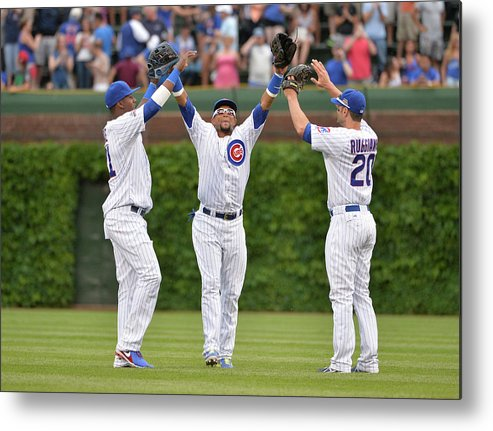 Celebration Metal Print featuring the photograph Emilio Bonifacio And Justin Ruggiano by Brian Kersey