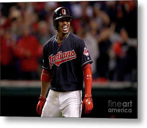 Three Quarter Length Metal Print featuring the photograph Francisco Lindor And Marco Estrada by Maddie Meyer