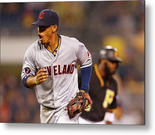 Double Play Metal Print featuring the photograph Francisco Lindor by Jared Wickerham