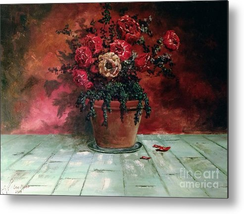 Still Life Metal Print featuring the painting The Yellow Rose by Lee Piper