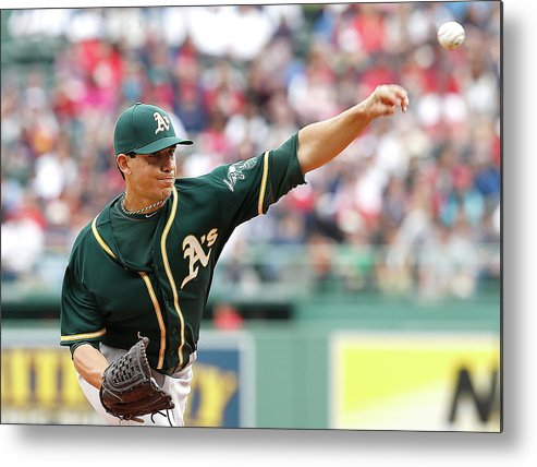 American League Baseball Metal Print featuring the photograph Tommy Milone by Jim Rogash