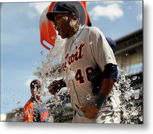 American League Baseball Metal Print featuring the photograph Torii Hunter And Prince Fielder by Hannah Foslien