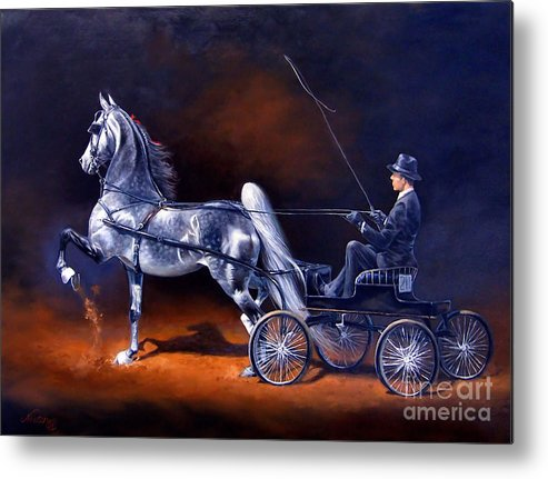 Horse Metal Print featuring the painting Under The Spotlight by Jeanne Newton Schoborg
