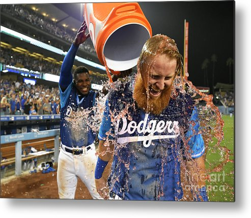 People Metal Print featuring the photograph Yasiel Puig, Justin Turner, And Chris Taylor by John Mccoy