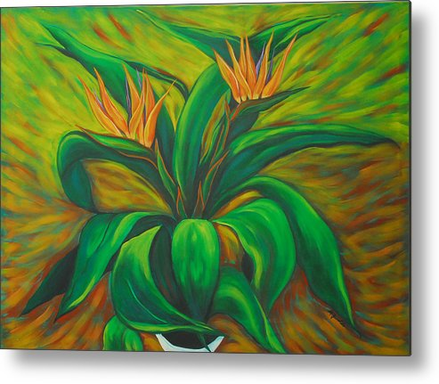 Contemporary Abstract Metal Print featuring the painting Bird Of Paradise by Marta Giraldo