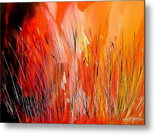 Abstract Metal Print featuring the painting Blaze by Yvette Sikorsky