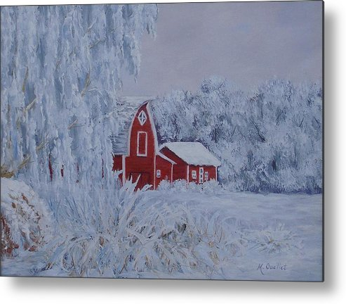 Landscape Metal Print featuring the painting Brr by Maxine Ouellet
