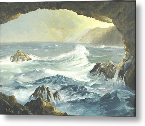 Coast Metal Print featuring the painting Costal Cave by Robert Thomaston