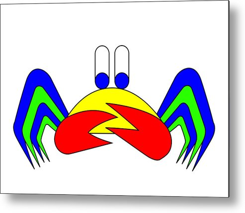 Crab-mac-claw Metal Print featuring the digital art Crab-mac-claw The Crab by Asbjorn Lonvig
