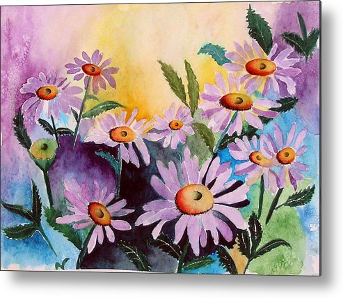 Daisies Metal Print featuring the painting Daisies by Mary Gaines