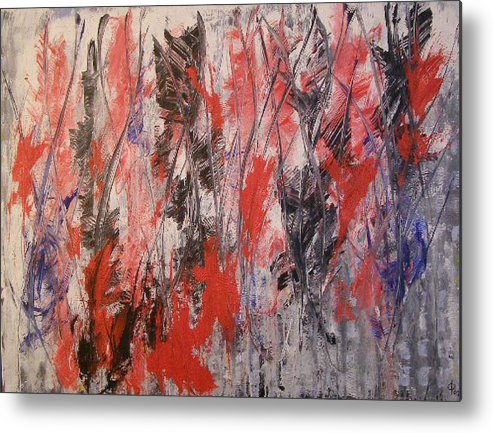 Abstract Metal Print featuring the painting Feathers by Don Phillips