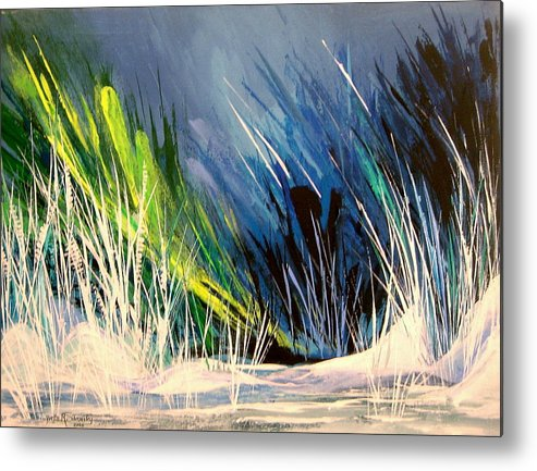 Abstract Metal Print featuring the painting Icy Pond by Yvette Sikorsky