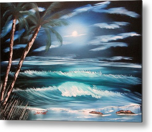 Seascape Metal Print featuring the painting Midnight Ocean by Sheldon Morgan