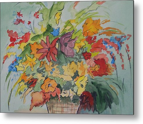 Watercolor Metal Print featuring the painting Pams Flowers by Robert Thomaston