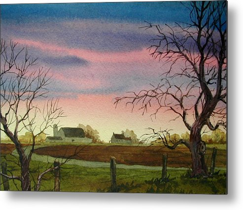 Amish Farm Metal Print featuring the painting Peaceful Evening by Faye Ziegler