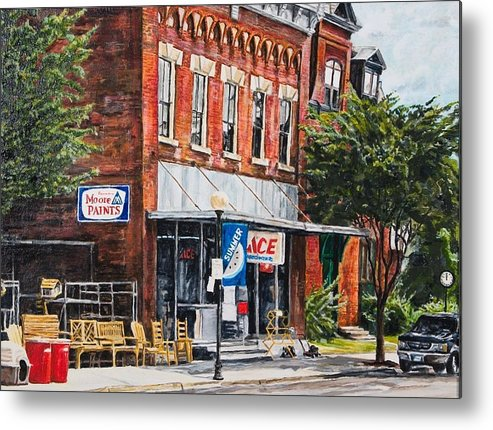 Small Town Metal Print featuring the painting Summer by Thomas Akers