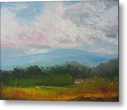Landscape Metal Print featuring the painting Summertime by Belinda Consten