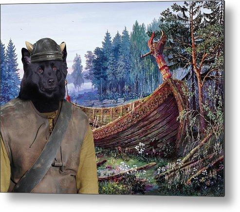 Swedish Lapphund Metal Print featuring the painting Swedish Lapphund Art Canvas Print by Sandra Sij