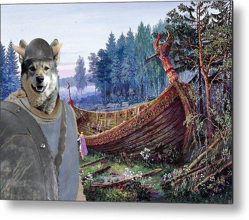 Swedish Elkhound Metal Print featuring the painting Swedish Elkhound - Jamthund Art Canvas Print by Sandra Sij