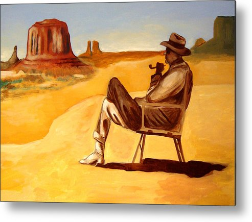 Landscape Metal Print featuring the painting Poet In The Desert by Joseph Malham