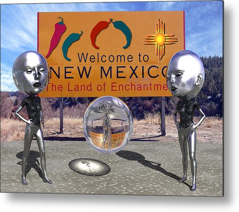 Surrealism Metal Print featuring the painting Roswell 1947 by Robert Maestas