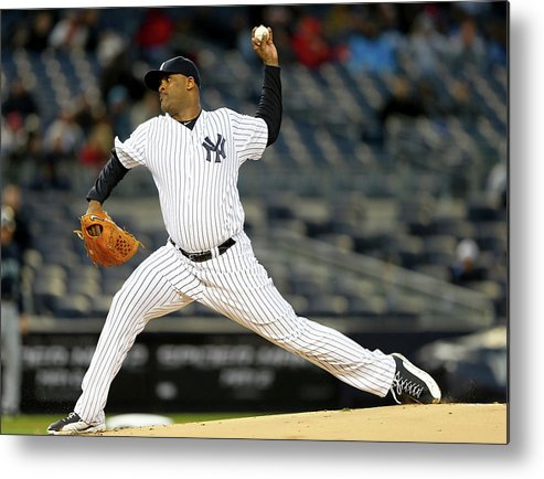 American League Baseball Metal Print featuring the photograph Seattle Mariners V New York Yankees by Elsa